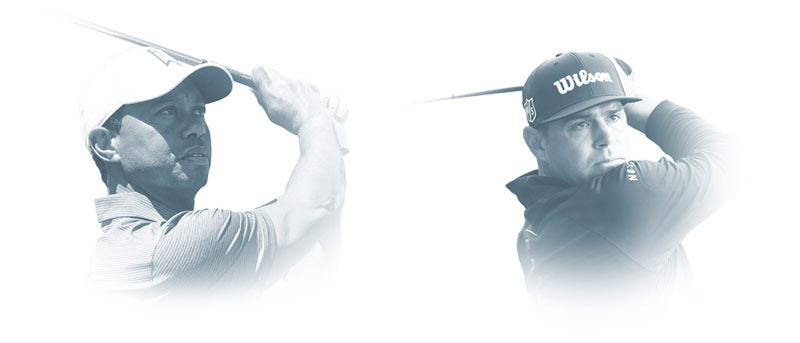 headshots of Tiger Woods and Gary Woodland